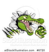 Vector Illustration of a Snapping Alligator or Crocodile Head Slashing Through a Wall by AtStockIllustration