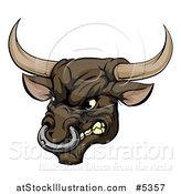 Vector Illustration of a Snarling Aggressive Bull Mascot Head by AtStockIllustration