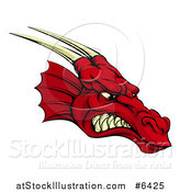 Vector Illustration of a Snarling Angry Red Dragon Head with Horns by AtStockIllustration