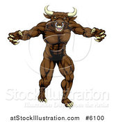 Vector Illustration of a Snarling Brown Bull Man Monster Mascot Attacking by AtStockIllustration