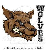 Vector Illustration of a Snarling Brown Wolf Mascot Head and Text by AtStockIllustration