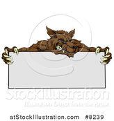 Vector Illustration of a Snarling Brown Wolf Mascot over a Blank Sign by AtStockIllustration