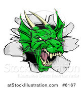 Vector Illustration of a Snarling Fierce Green Dragon Mascot Head Breaking Through a Wall by AtStockIllustration
