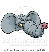 Vector Illustration of a Snarling Gray Elephant Face by AtStockIllustration