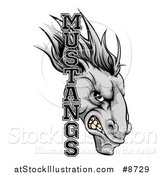 Vector Illustration of a Snarling Gray Mustang Horse Mascot with Text by AtStockIllustration