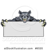Vector Illustration of a Snarling Gray Wolf Mascot with Claws, Holding a Blank Sign by AtStockIllustration