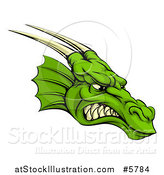 Vector Illustration of a Snarling Green Horned Dragon Face by AtStockIllustration