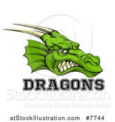 Vector Illustration of a Snarling Green Horned Dragon Mascot Face with Text by AtStockIllustration