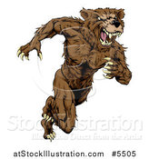 Vector Illustration of a Snarling Muscular Bear Mascot Running Upright by AtStockIllustration