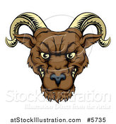 Vector Illustration of a Snarling Ram Head by AtStockIllustration