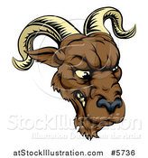 Vector Illustration of a Snarling Ram Mascot Head by AtStockIllustration
