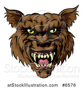 Vector Illustration of a Snarling Vicious Brown Wolf Mascot Head by AtStockIllustration