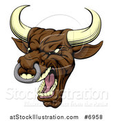 Vector Illustration of a Snarling Vicious Mad Brown Bull Mascot Head by AtStockIllustration