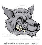 Vector Illustration of a Snarling Vicious Wolf Face by AtStockIllustration