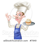 Vector Illustration of a Snooty White Male Chef with a Curling Mustache, Holding a Cupcake on a Tray and Gesturing Okay by AtStockIllustration