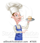 Vector Illustration of a Snooty White Male Chef with a Curling Mustache, Holding a Cupcake on a Tray and Pointing to the Right by AtStockIllustration