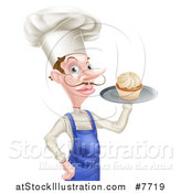 Vector Illustration of a Snooty White Male Chef with a Curling Mustache, Holding a Cupcake on a Tray by AtStockIllustration