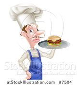 Vector Illustration of a Snooty White Male Chef with a Curling Mustache, Holding a Gourmet Cheeseburger on a Tray by AtStockIllustration