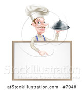 Vector Illustration of a Snooty White Male Chef with a Curling Mustache, Holding a Silver Cloche Platter and Pointing down over a Blank Menu Sign by AtStockIllustration