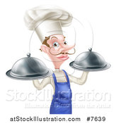 Vector Illustration of a Snooty White Male Chef with a Curling Mustache Holding Two Silver Cloche Platters by AtStockIllustration