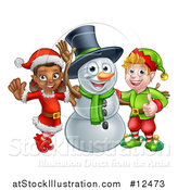 Vector Illustration of a Snowman Waving with Two Christmas Elves by AtStockIllustration