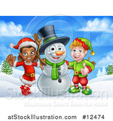 Vector Illustration of a Snowman Waving with Two Christmas Elves in a Winter Landscape by AtStockIllustration