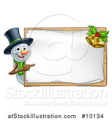 Vector Illustration of a Snowman Wearing a Christmas Top Hat and Pointing Around a Blank Sign with Bells by AtStockIllustration