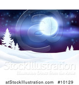 Vector Illustration of a Snowy Winter Landscape with Silhouetted Evergreen Trees and a Full Moon in a Starry Sky by AtStockIllustration