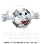 Vector Illustration of a Soccer Ball Character Giving Two Thumbs up by AtStockIllustration