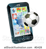 Vector Illustration of a Soccer Ball Flying Through and Breaking a Smart Cell Phone Screen by AtStockIllustration