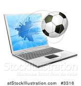 Vector Illustration of a Soccer Ball Flying Through and Shattering a 3d Laptop Screen by AtStockIllustration