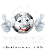Vector Illustration of a Soccer Ball Mascot Character Giving Two Thumbs up by AtStockIllustration