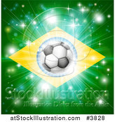 Vector Illustration of a Soccer Ball over a Brazilian Flag with Fireworks by AtStockIllustration