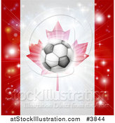 Vector Illustration of a Soccer Ball over a Canadian Flag with Fireworks by AtStockIllustration