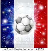 Vector Illustration of a Soccer Ball over a France Flag with Fireworks by AtStockIllustration