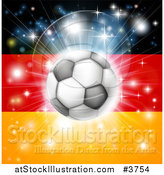Vector Illustration of a Soccer Ball over a German Flag with Fireworks by AtStockIllustration