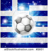 Vector Illustration of a Soccer Ball over a Greek Flag with Fireworks by AtStockIllustration