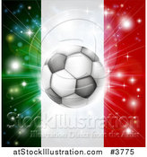 Vector Illustration of a Soccer Ball over a Italy Flag with Fireworks by AtStockIllustration