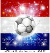 Vector Illustration of a Soccer Ball over a Netherlands Flag with Fireworks by AtStockIllustration