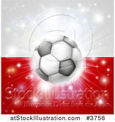 Vector Illustration of a Soccer Ball over a Poland Flag with Fireworks by AtStockIllustration