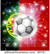 Vector Illustration of a Soccer Ball over a Portugal Flag with Fireworks by AtStockIllustration