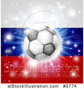 Vector Illustration of a Soccer Ball over a Russian Flag with Fireworks by AtStockIllustration