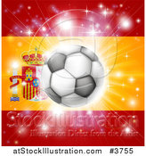 Vector Illustration of a Soccer Ball over a Spanish Flag with Fireworks by AtStockIllustration