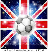 Vector Illustration of a Soccer Ball over a Union Jack with Fireworks by AtStockIllustration