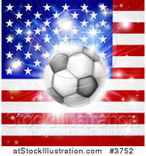 Vector Illustration of a Soccer Ball over an American Flag with Fireworks by AtStockIllustration