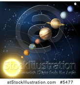 Vector Illustration of a Solar System Layout of Planets in Outer Space by AtStockIllustration