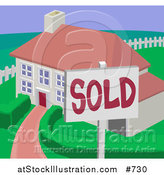Vector Illustration of a Sold Residential Home by AtStockIllustration