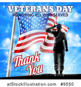 Vector Illustration of a Solder Saluting on Veterans Day Beside an American Flag over a Blue Sky by AtStockIllustration