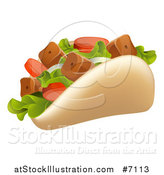 Vector Illustration of a Souvlaki Kebab Sandwich by AtStockIllustration