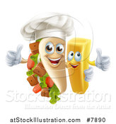 Vector Illustration of a Souvlaki Kebab Sandwich Chef Mascot and French Fry Character Giving Thumbs up by AtStockIllustration